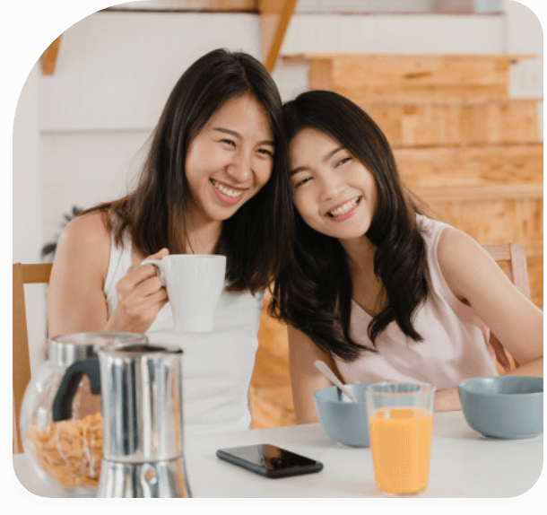 Two woman enjoying a meal together